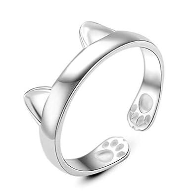 Animal anillos joyas plata de ley 925 Beautiful Unique orejas de gato anillo partido mujeres: Amazon.es: Joyería