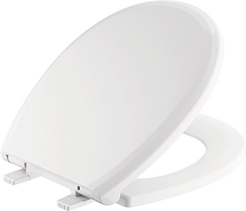 Delta Faucet 801902-WH Sanborne Round Front Slow-Close Toilet Seat with Non-slip Seat Bumpers, White