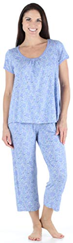 (bSoft Women's Sleepwear Bamboo Jersey Short Sleeve Top and Capri Pajama Set, Bird Trellis (BSBJ1830-1019-MED))