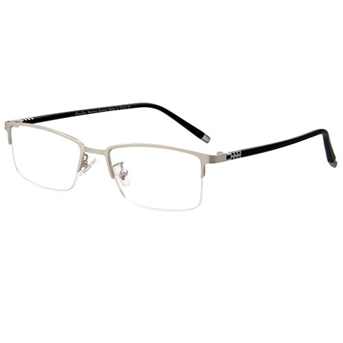 LianSan Deisigner Metal Frame Half Rim TR Mens Womens Fashion Reading Glasses AC Lens Readers L7022 Black, +1.00 Magnification