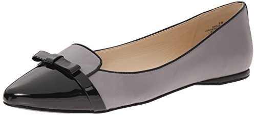 Nine West Womens Saxiphone Leather Ballet Flat GreyBlack 6.5 M US