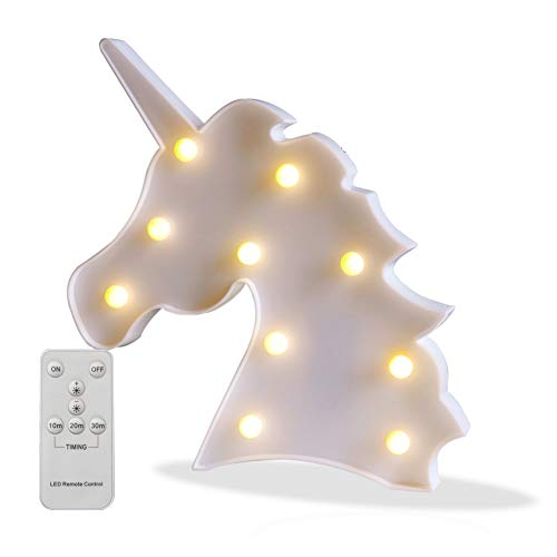 Battery Operated Night Light LED Marquee Sign with Wireless Remote Control for Kids' Room, Bedroom, Gift, Party, Home Decorations(White Unicorn Head)