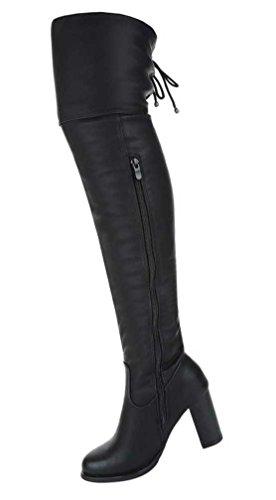 Damen Overknee Stiefel Schuhe Moderne Schwarz Schwarz