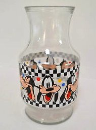 (Disney Goofy Glass Carafe Juice Pitcher with checkerboard design 9