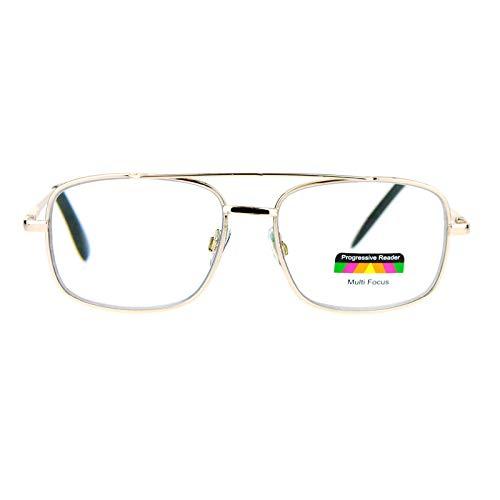 SA106 Rectangular Metal Frame Multi 3 Focus Progressive Reading Glasses Gold 1.5
