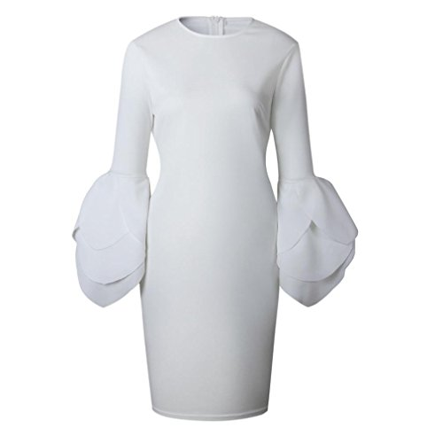 para Mini vestido De noche de Xinan mujer mujer etal mangas Blanco Mujer fiesta Vestido Vestido de H8S0O1qUww
