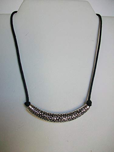 image 0 image 1 image 2 image 3 Request a custom order and have something made just for you. Tibetan Silver Curved Filigree Tube on Black Cord