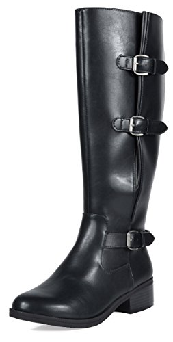 TOETOS Women's Mirran Black Knee High Riding Boots Wide Calf Size 10 M US