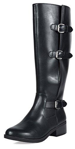 TOETOS Damen Kniehohe Reitstiefel (breites Kalb erhältlich) Schwarz-m