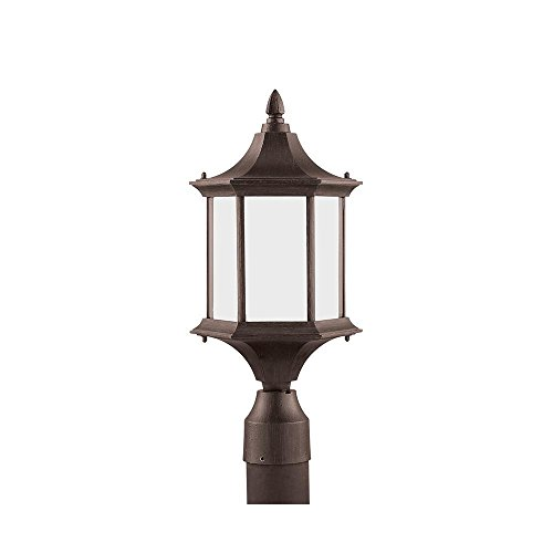 Sea Gull Lighting 89236BL-08 Ardsley Court - One Light Outdoor Post Lantern, Textured Rust Patina Finish with Etched Glass