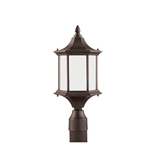 Sea Gull Lighting 89236BL-08 Ardsley Court - One Light Outdoor Post Lantern, Textured Rust Patina Finish with Etched - Post Textured Lights Rust Patina