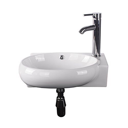 Round Sink Drain Set (Walcut Wall Mount Corner Bowl With Faucet And Drain Set)