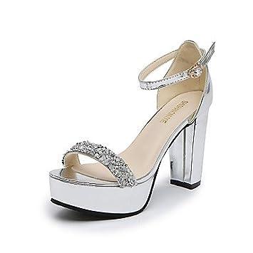 b00cf31bcf023 zhENfu Women s Sandals Summer Comfort PU Outdoor Walking Block Heel Buckle  Silver Gold