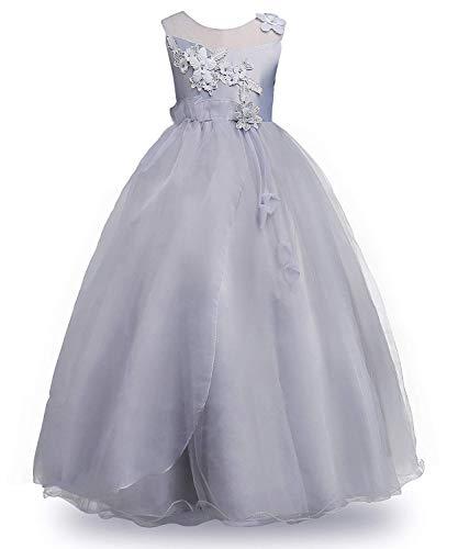 MOREMOO Big Girls' Princess Flower Girls Pageant Bridesmaid Tulle Dress(Gray 8-9 -
