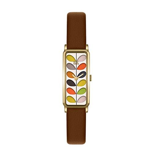 Orla Kiely Damen Datum klassisch Quarz Uhr mit Leder Armband OK2104