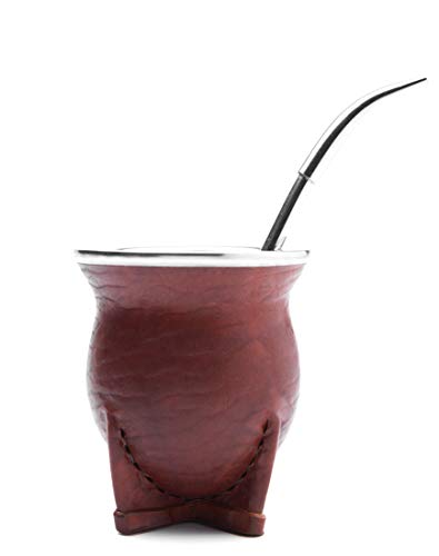 Balibetov [New] Premium Yerba Mate Gourd (Mate cup) - Uruguayan Mate - Leather wrapped - with Alpaca (German Silver) Bombilla (Uruguayo) ()