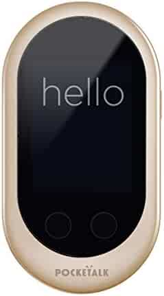 Pocketalk Language Translator Device - Portable Two-Way Voice Interpreter - 74 Language Smart Translations in Real Time (Gold)