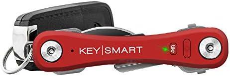 KeySmart Pro | Der kompakte Schlüssel-Träger mit LED Lampe & Tile Smart Technology, Verfolgen Sie Ihre Verlorene Schüssel & Handy mit dem Bluetooth (2-10 Schlüssel, Rot)
