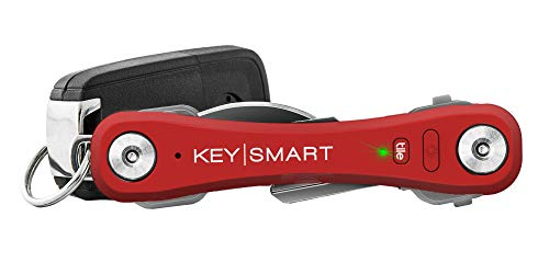 KeySmart Pro - Compact Key Holder w LED Light & Tile Smart Technology, Track your Lost Keys & Phone w Bluetooth (up to 10 Keys, Red)