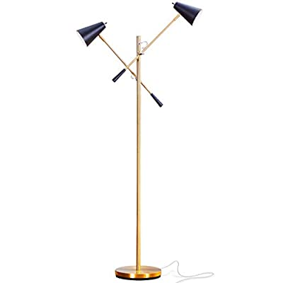 Brightech Ella LED Floor Lamp –Modern Tall Pole Standing Light with 2 Heads for Living Room, Office, Bedroom, Den, Dorm – Contemporary Craft and Task Lighting for Sewing, Knitting, Quilting – Brass