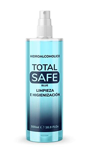 Total Safe 500ml Spray | Ideal para una higiene profunda de manos - Hidroalcoholico Liquido envase con Aerosol Blue 2