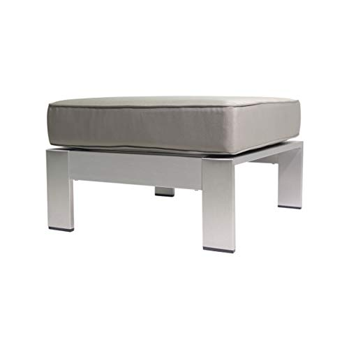Great Deal Furniture 306277 Aya Coral Cushioned Aluminum Ottoman, Silver and Khaki,