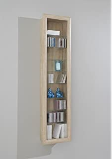 LHS SHOWCASE II Wall Mounted Glass Display Case Cabinet Unit Glass Shelves  In Washed Oak Colour