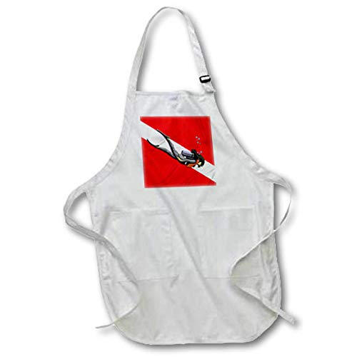 - Medium Length Apron with Pouch Pockets 22w x 24l Woman Scuba Diver in Front of a red and White Dive Flag Scuba 3dRose Macdonald Creative Studios apr/_295425/_2