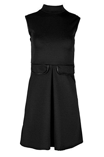 Flare Turtleneck (Be Jealous Women's Turtle Neck Bodycon Pocket Sleeveless Flare Skater Dress M/L (US 8/10) Black)