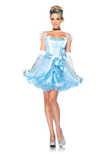 Leg Avenue Disney 3Pc.Classic Cinderella Dress Choker and Head Piece, Blue, Large - Cinderella Fancy Dress For Adults