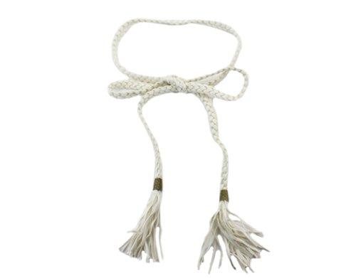 BONAMART ®Women PU Leather Braided Belt Skinny Obi Waist Belt without Buckle 172cm (Skinny Braided Belt)