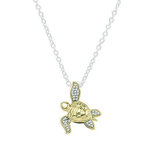 Dazzlingrock Collection 0.12 Carat (ctw) 14K Round Diamond Ladies Sea Turtle Pendant (Silver Chain Included), Yellow ()
