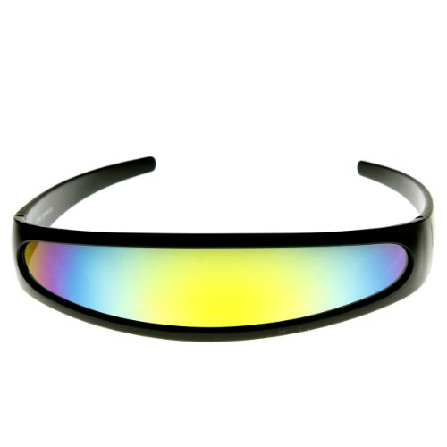 Futuristic Narrow Cyclops Color Mirrored Lens Visor Sunglasses (Black Sun)
