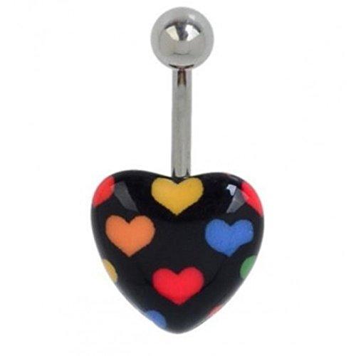 Piercing nombril coeurs multicolore acier