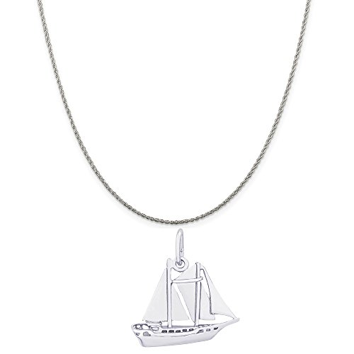 Rembrandt Charms Sterling Silver Schooner Sailboat Charm on a Rope Chain Necklace, 18