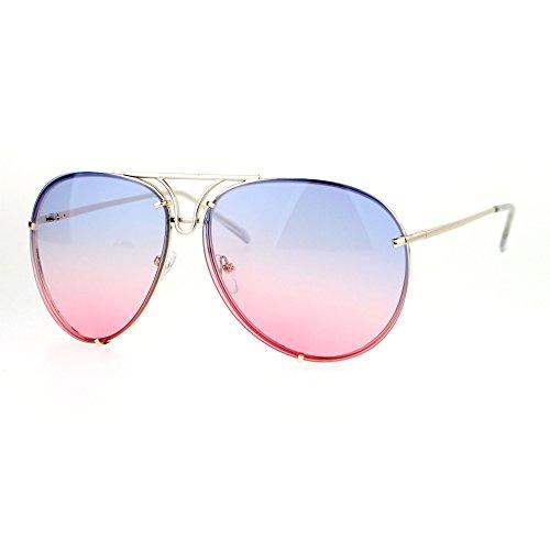 03b45de673 SA106 Retro Vintage Rimless Oceanic Lens Pilot Sunglasses Blue Pink