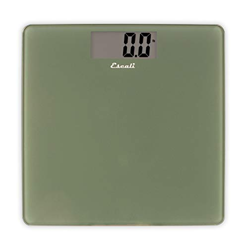 Escali Glass - Escali B200SG Glass Platform Bathroom Body Scale, Low Profile, LCD Digital Display, 440lb Capacity, Sage Green