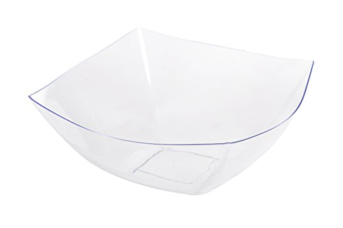 Blue Sky, Square Unbreakable Clear Plastic Serving Bowls, 64 Ounce, Set of 5, Party Snack or Salad Bowl. Disposable Serving Bowls