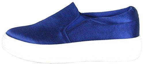 Soda Women's Closed Round Toe Slip-On Platform Flatform Fashion Sneaker (8 B(M) US, Dark Blue - Blue Platform Satin