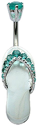 (Shalalla London Silver Flip Flop Belly Button Ring with CZ Aquamarine Crystal - Packed in a Lovely Velvet Pouch)
