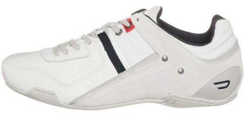 brand new c37eb 89ca7 DIESEL Korbin S White Navy Red Leather Mens New Trainers ...