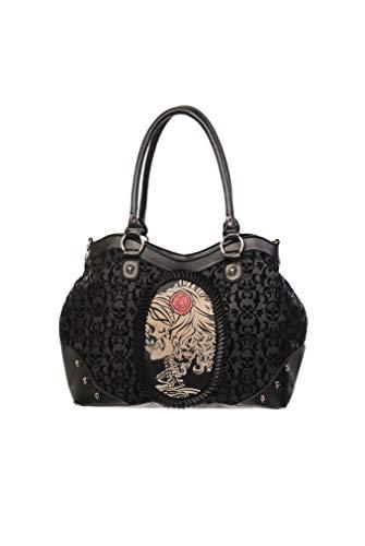 Lost Queen Gothic Flocked Skull Cameo Skull Lady Rose Black Handbag