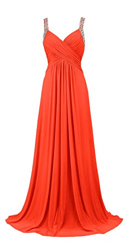 Beading Fashion - Conail Coco Women's Tulle Beading A-Line Bridesmaid Prom Dresses Long Cocktail Evening Gowns (3XL,77Coral)