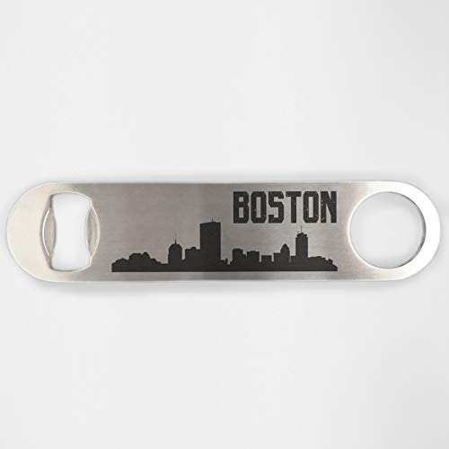 Boston Skyline Stainless Steel Heavy Duty Flat Bar Key Beer Laser Etched Bottle Opener