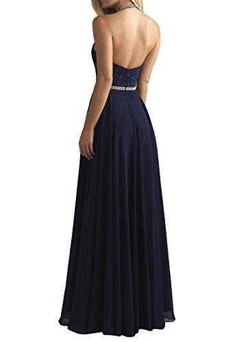 Neckholder La Brautmutterkleider mia Chiffon Abendkleider A Brau Blau Lang Abschlussballkleider Partykleider Spitze Navy Linie qEgET1