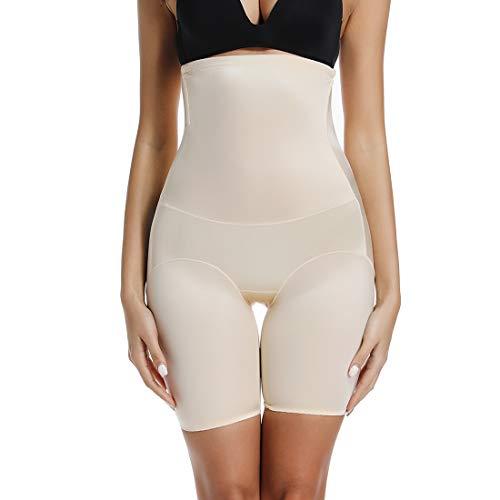 Womens Shapewear Thigh Slimmer High Waist Shaping Shorts Body Shaper Boyshorts Under Dress Shorts Beige (Best Shorts For Under Dresses)