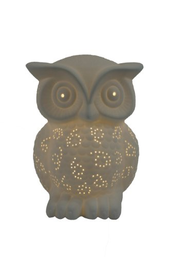 Simple Designs LT3027-WHT White Porcelain Animal Shaped Table Lamp, Wise Owl (Trend Glass Table Lamp)