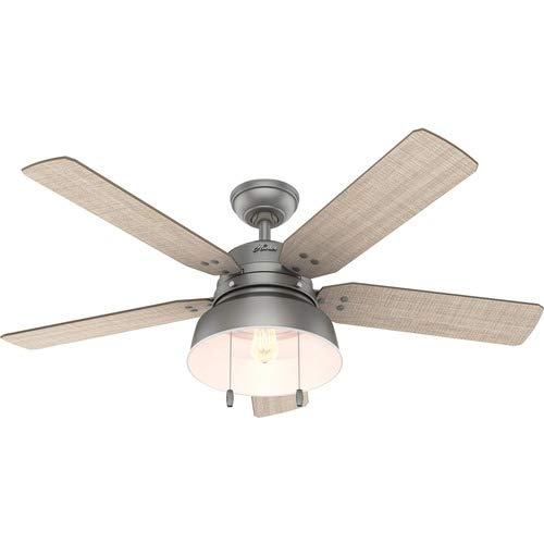 Hunter Indoor / Outdoor Ceiling Fan with light and pull chain control  Mill Valley 52 inch Black 59307