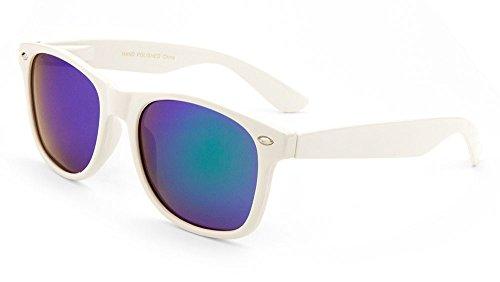 [Reflective Mirror Lens Retro Vintage Classic Style Retro Classic Sunglasses Shades (WHITE,] (Super Nerd Costume)
