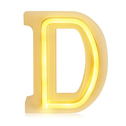 BISOZER Letter Arabic Numerals LED Marquee Light Sign, USB/Battery Operated 1-9 A-Z Night Lamps Christmas, Halloween Decor, Wedding Decor, Party, Baby Boy Girls Room Décor (D) ()